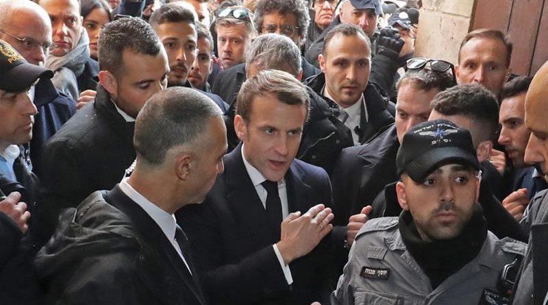 """Макрон се ядоса на израелски полицаи на посещение в базиликата """"Св. Анна"""""""